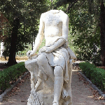 Sculpture in a Park in Palermo, Couples signing there 					Love at